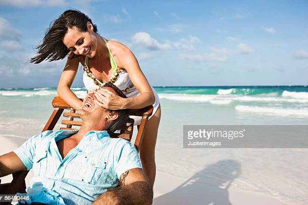 couple at the beach - playa del carmen stock pictures, royalty-free photos & images