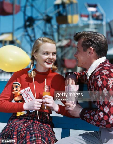 Couple at the carnival Los Angeles California 1949