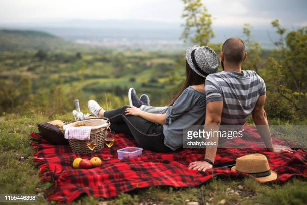couple at the picnic in the nature - picnic stock pictures, royalty-free photos & images