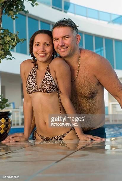 couple at the pool - butlins stock pictures, royalty-free photos & images
