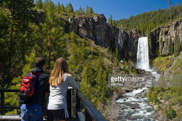 Couple at Tumalo Falls viewpoint, Deschutes National Forest, central Oregon.