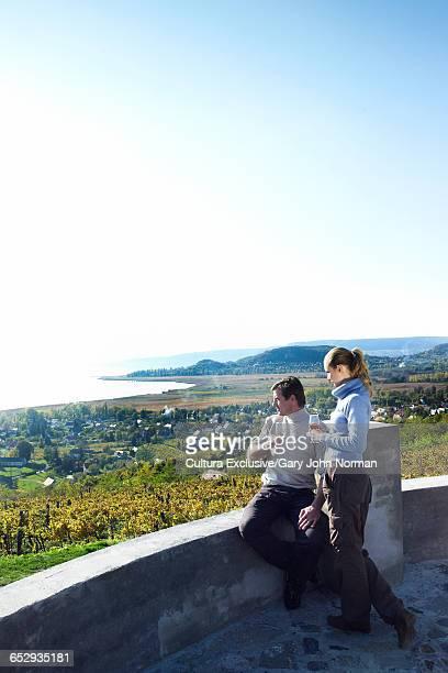 Couple at vineyard wine tasting at Lake Balaton, Budapest, Hungary