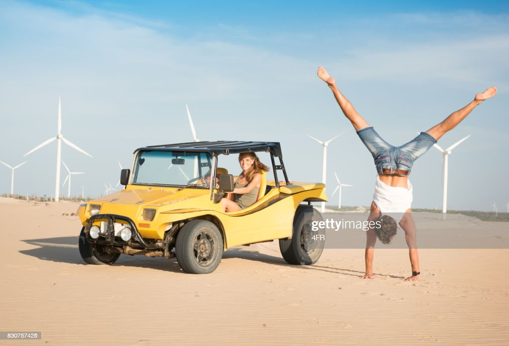 Couple Beach Buggy Fun, Handstand, Candid Smile, Brazil : Stock Photo