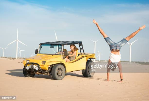 Couple Beach Buggy Fun, Handstand, Candid Smile, Brazil