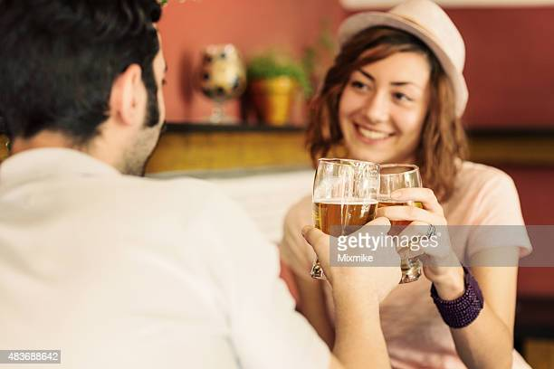 Couple beer toast