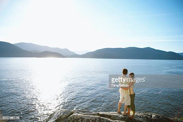 Couple beside a lake