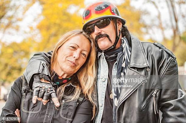 couple biker portrait - leather jacket stock pictures, royalty-free photos & images