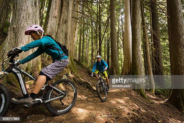 couple biking in an old growth forest - cross country cycling stock pictures, royalty-free photos & images