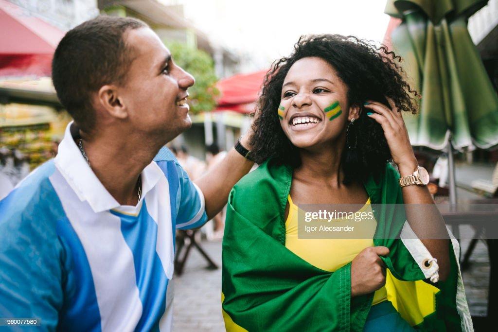 Paar-Brasilien-Argentinien : Stock-Foto
