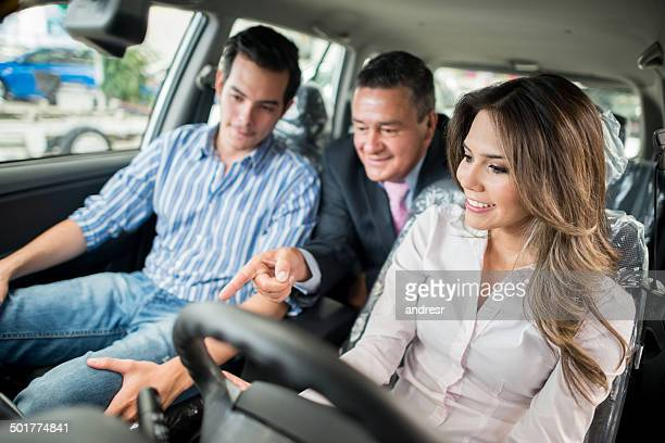 couple buying a new car - test drive stock pictures, royalty-free photos & images