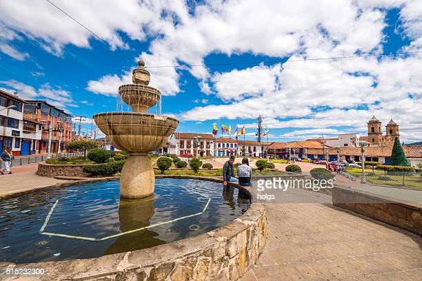 Couple by the fountain in Zipaquira