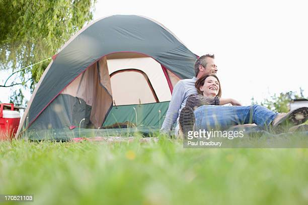 Couple camping in remote area