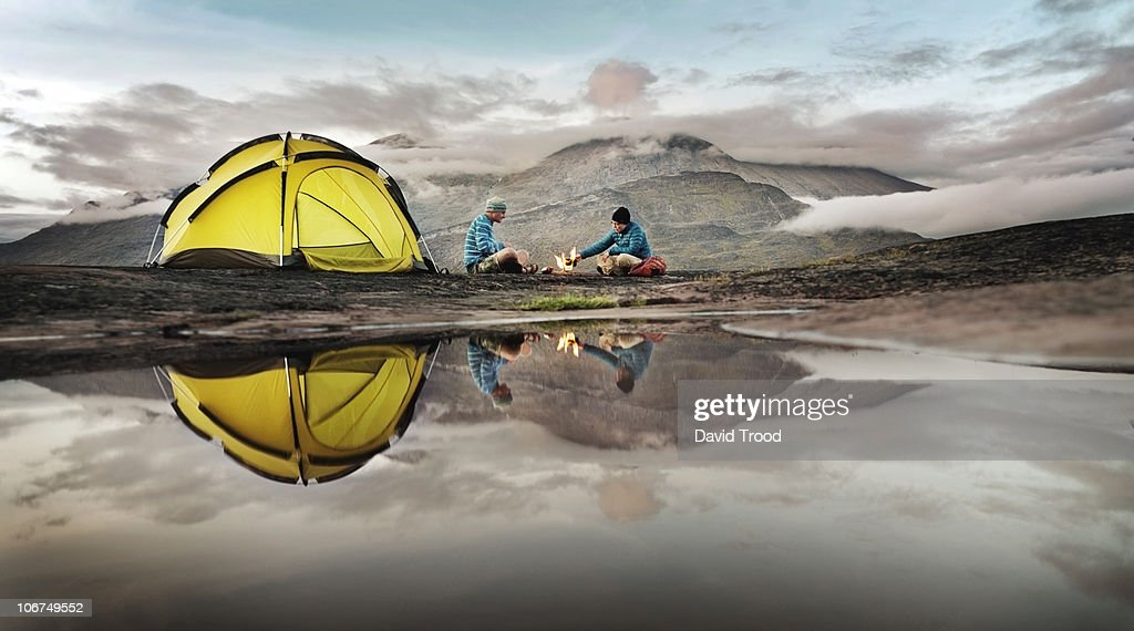 Couple camping in Southern Greenland : Stockfoto