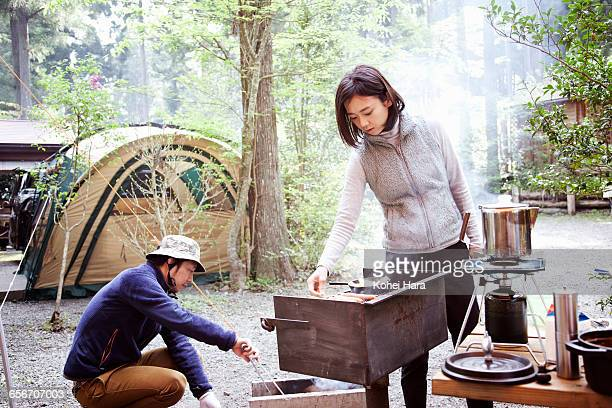 couple camping in the mountain