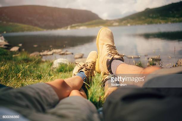 couple camping - inside out stock pictures, royalty-free photos & images