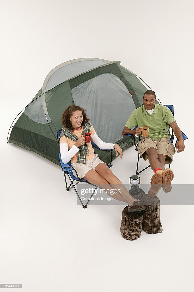 Couple camping : Stockfoto