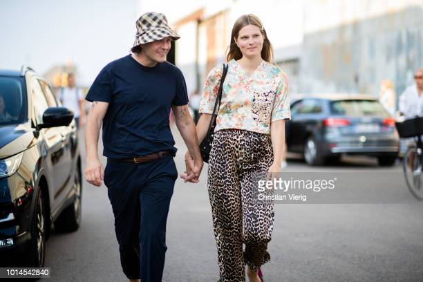 Couple Caroline Brasch Nielsen with her boyfriend seen outside Ganni during the Copenhagen Fashion Week Spring/Summer 2019 on August 9 2018 in...