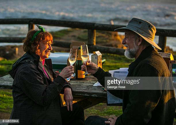 A couple celebrates a birthday and a beautiful sunset on February 4 in Moonstone Beach California Because of its close proximity to Southern...