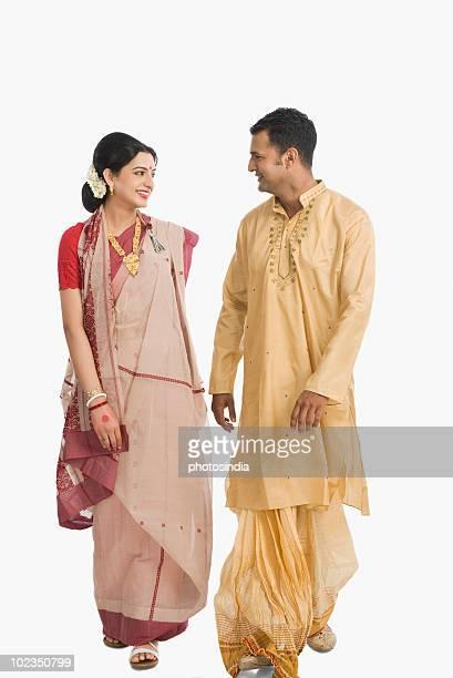 Couple celebrating Durga Puja