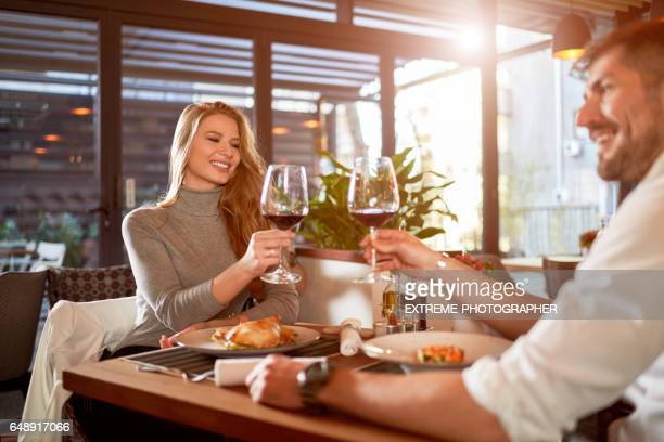 Couple celebrating in the restaurant