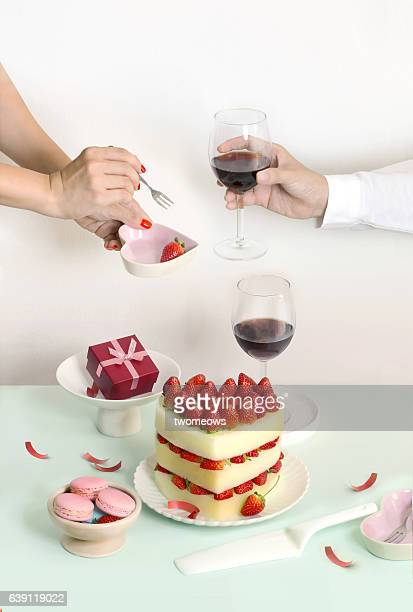 Couple celebrating special event table top shot.