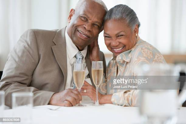 Couple celebrating wedding anniversary
