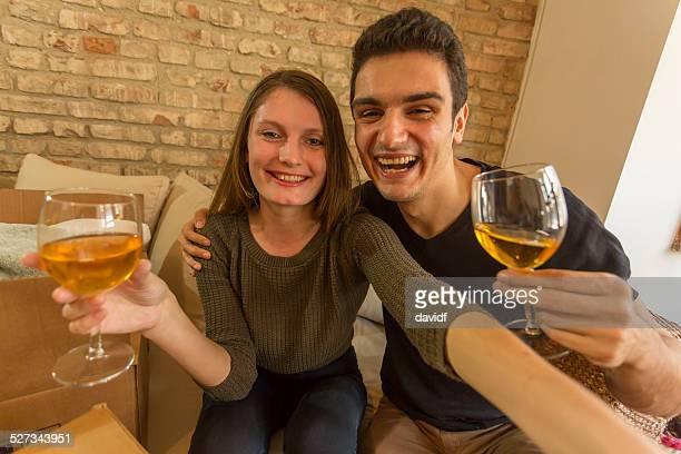 Couple Celebrating While Moving House