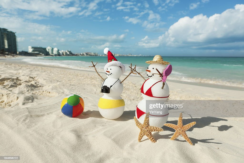 couple christmas vacation in tropical beach of cancun mexico stock photo