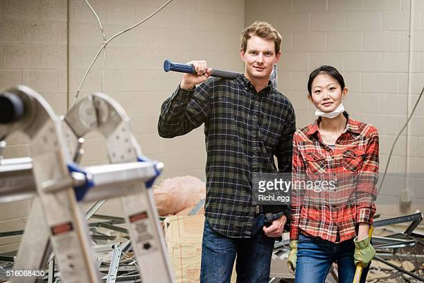 couple construction workers - pants pulled down stock pictures, royalty-free photos & images
