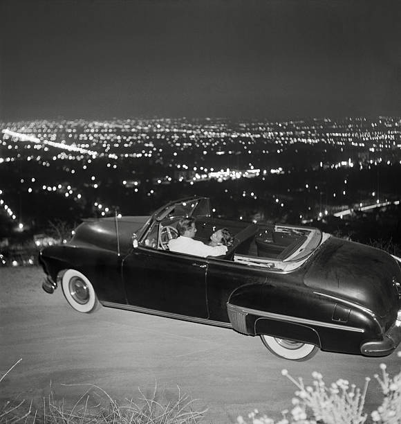 Couple In Convertible On Mulholland Drive