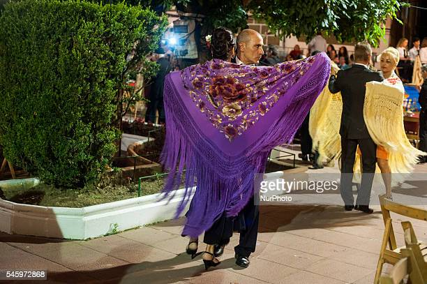 A couple danced a paso doble during the celebration of the festival shawl that takes place in the gardens of the Jose Antonio plaza Ramales de la...