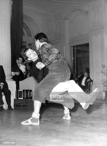 A couple dances the jitterbug early to mid twentieth century