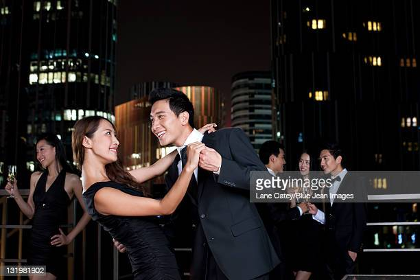Couple Dancing at an Outdoor Party