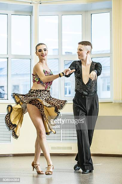couple dancing, ballroom dancing - rumba stock photos and pictures
