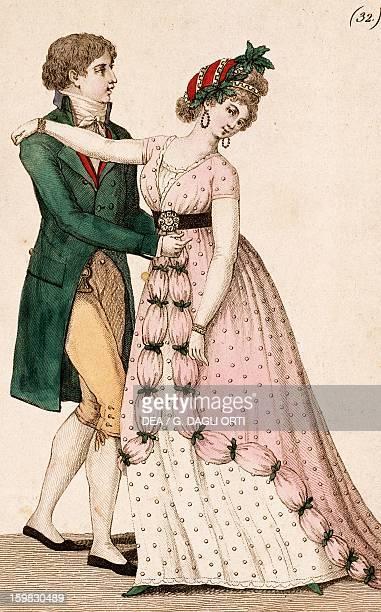 Couple dancing the waltz engraving France 18th century Paris Bibliothèque Des Arts Decoratifs