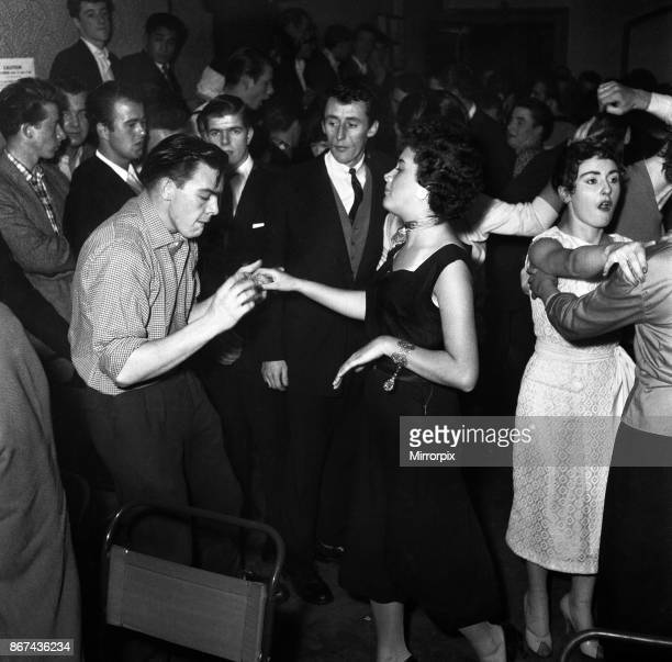 Couple dancing to Rock and Roll music at the Crown and Anchor pub in Brixton, south London. September 1956.