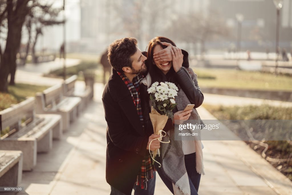 Couple dating on Valentine's day : Stock Photo