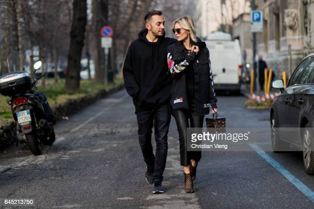 Couple Dima Kayne West Pablo Tour Merchandise Sweatshirt Neil Barrett Jeans adidas nmd sneaker and Lisa Hahnbueck wearing off white printed western...