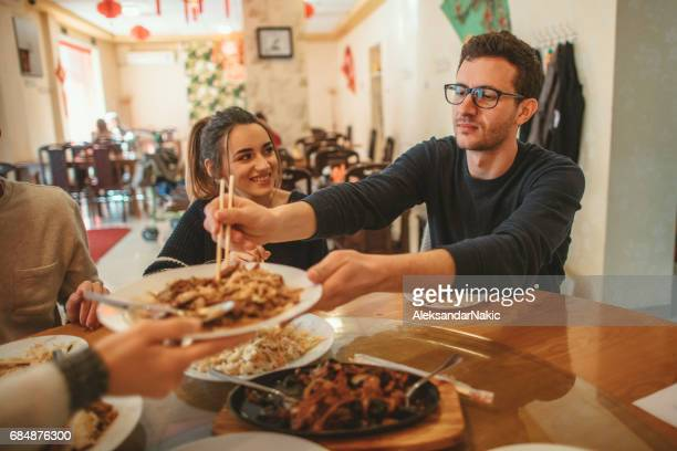 Couple dining in a Chinese restaurant