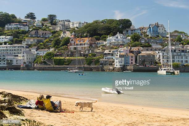 couple, dog, salcombe - tony howell stock pictures, royalty-free photos & images