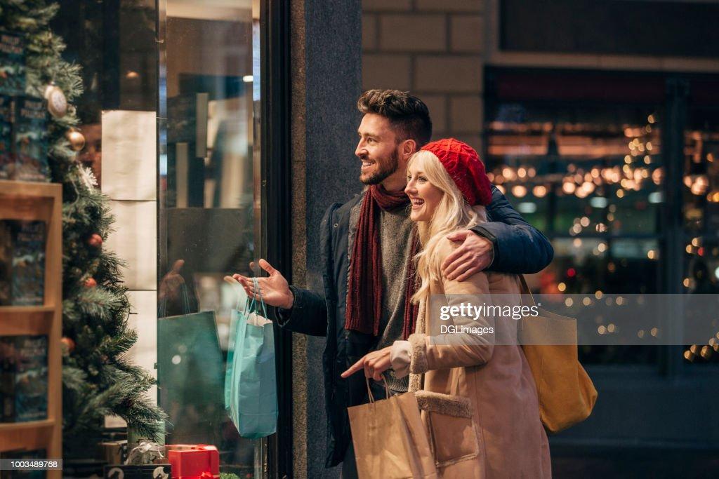 Couple Doing Some Window Shopping : Stock Photo