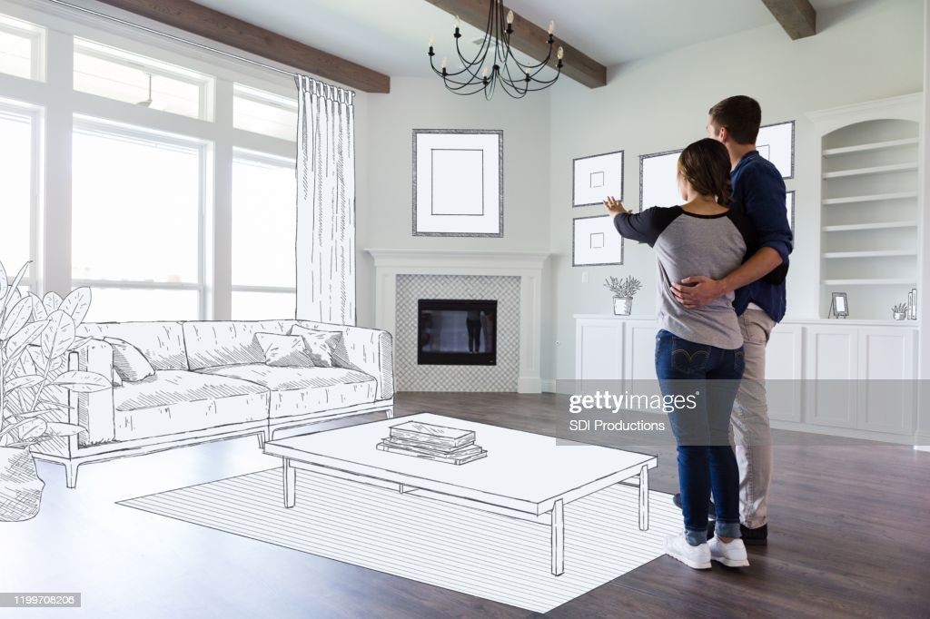 Couple dream in their new home : Stock Photo
