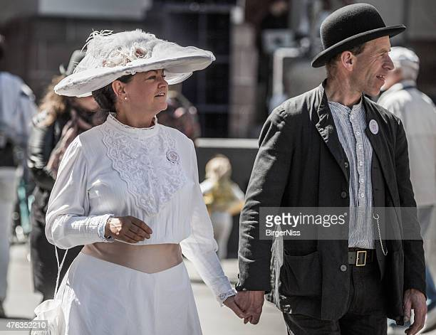 Couple dressed as suffragette and 1915 worker, Copenhagen, Denmark
