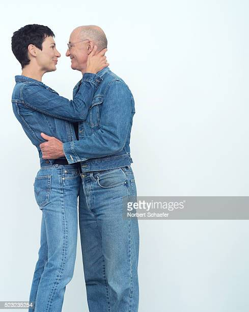 Couple Dressed in Denim Embracing