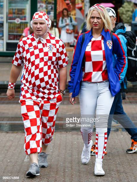 Fans of Croatia national football team watch the broadcast of the match on July 15 2018 in Zagreb This is the first time Croatia has reached the...