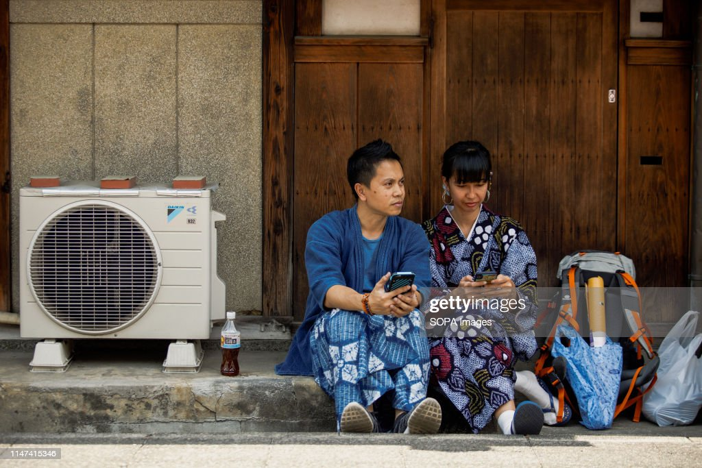 A couple dressed in traditional Yukata costumes during the... : News Photo