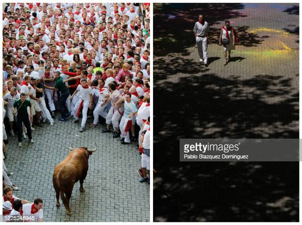 In this beforeandafter composite image **LEFT IMAGE** PAMPLONA SPAIN JULY 07 An Alcurrucen's ranch fighting bull stands alone surrounded by a crowd...