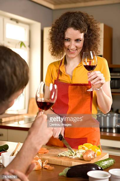 couple drinking wine. - permed hair stock photos and pictures