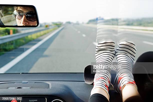 Couple driving on highway