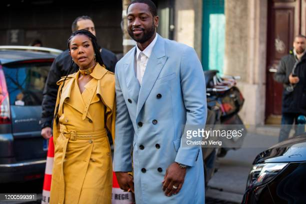 Couple Dwyane Wade and Gabrielle Union seen outside Lanvin during Paris Fashion Week - Menswear F/W 2020-2021 on January 19, 2020 in Paris, France.